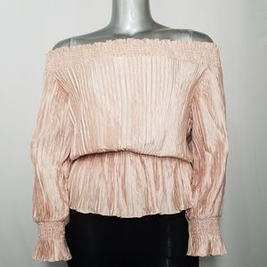 Beulah Top Off Shoulder Texture Blush Long Sleeve